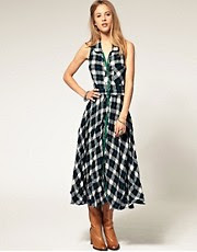 Free People Check Sleeveless Button Through Dress