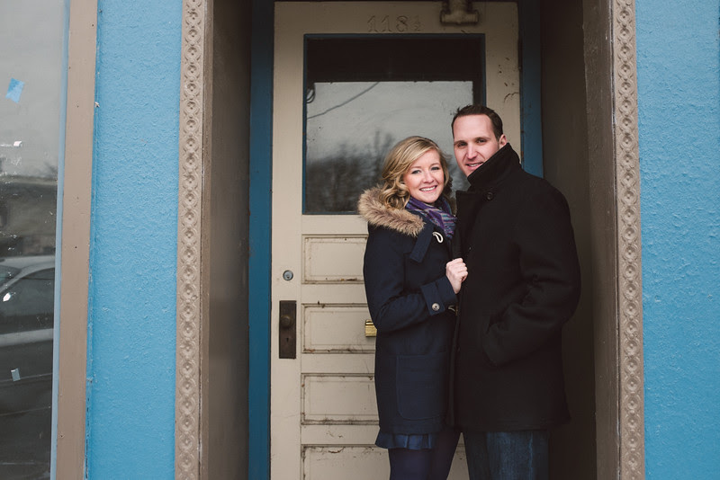 A winter engagement session with a great couple in the sleepy and quaint downtown of Rockton IL.