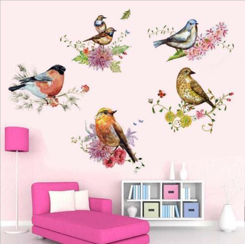 Aufkleber Wandtattoo Sticker Deko Farben Blumen Vogel Zweig Kind Zimmer Wandbild