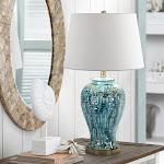 "Teal Temple Jar 27"" High Ceramic Table Lamp - Style # 2V366"