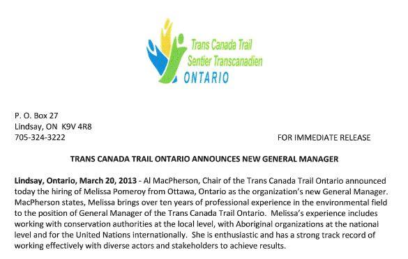 trans canada trail ontario