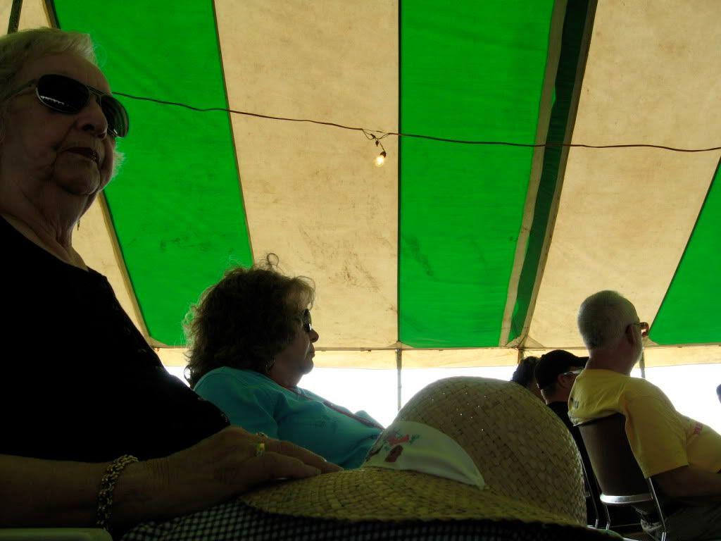 under a tent