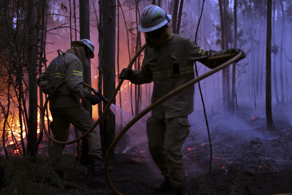 Bombeiros tentam combater o incêndio florestal de atingir a vila de Avelar, na região central de Portugal, durante o amanhecer deste domingo (18) (Foto: Armando Franca/AP)
