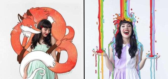 Esta jovem combina suas fotos com criativas com coloridas ilustrações