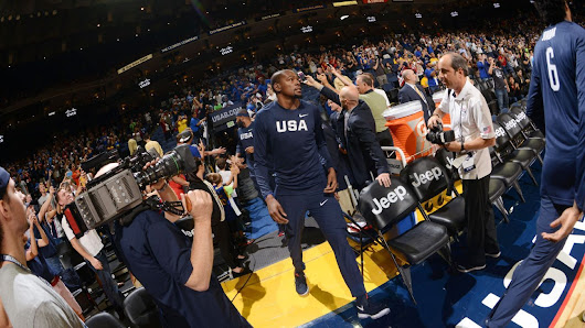 Kevin Durant of Golden State Warriors makes Oracle Arena debut in Team USA exhibition game
