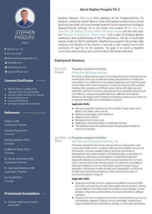 Use VisualCV to Create a Stunning Physician Assistant Resume | The Physician Assistant Life