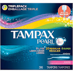 Tampax Pearl Triplepack Scented Plastic Tampon Variety Pack 36 ct Box