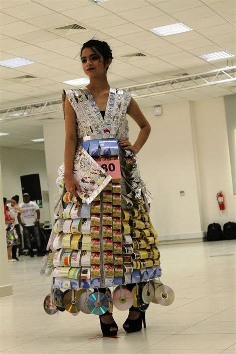Dress made from discarded materials for Qatar's Eco