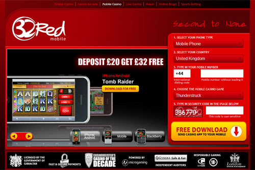 32Red Mobile Casino Bonus for iPhone, iPad