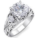 2 1/4 Carat Round Shape Diamond Intricate Vine Engagement Ring in 14K White Gold (6 g) (, I1-I2 Clarity Enhanced), Size 4 by SuperJeweler