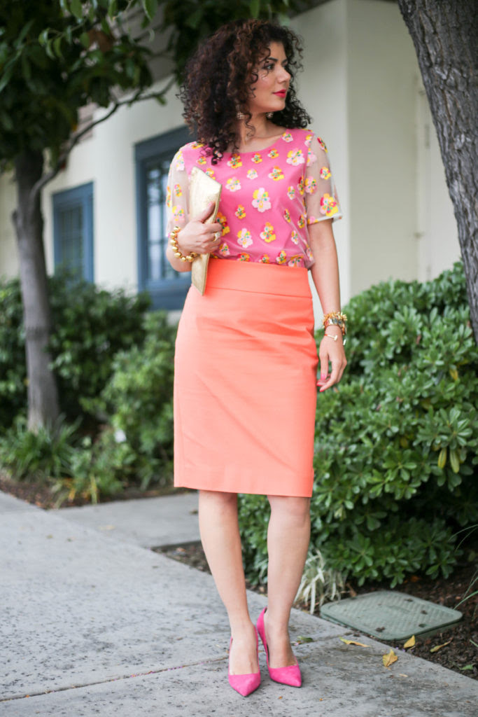 try a pink and orange outfit to add some brightness to