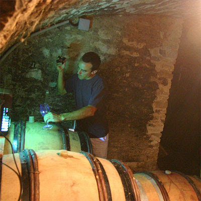 Oronce de Beler in his cellar under his house in Vosne-Romanée