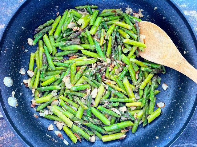 Sauteed Asparagus with Almonds Overhead