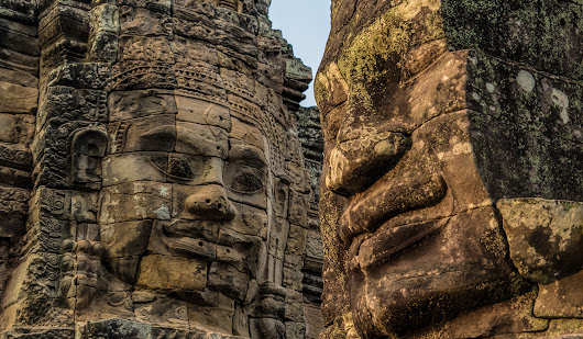 Faces of Bayon Temple at Angkor Thom. Part of the Angkor Unesco site.