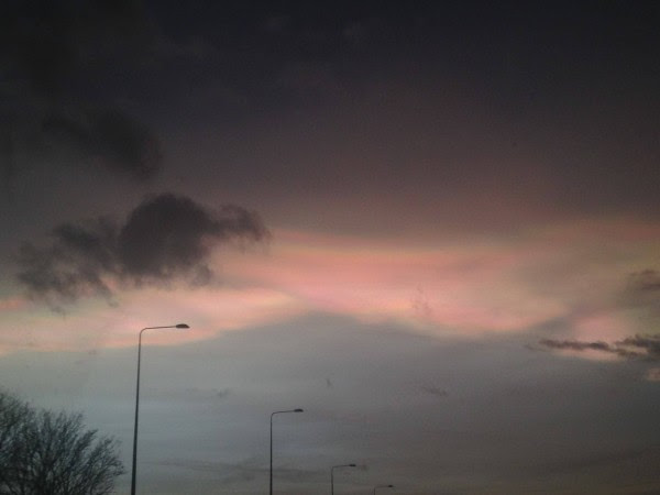 Nacreous cloud over Warrington, UK, caught by Kimberley Aldred on the morning of February 2, 2016.