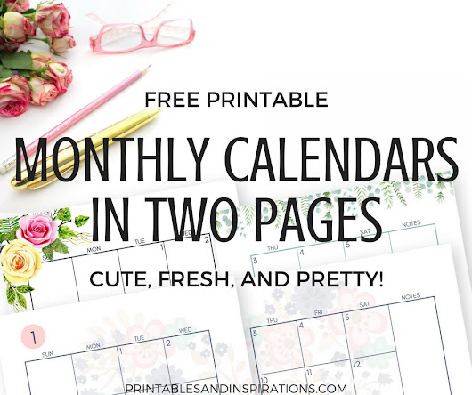 2019 Monthly Calendar Two Page Spread – Free Printable!