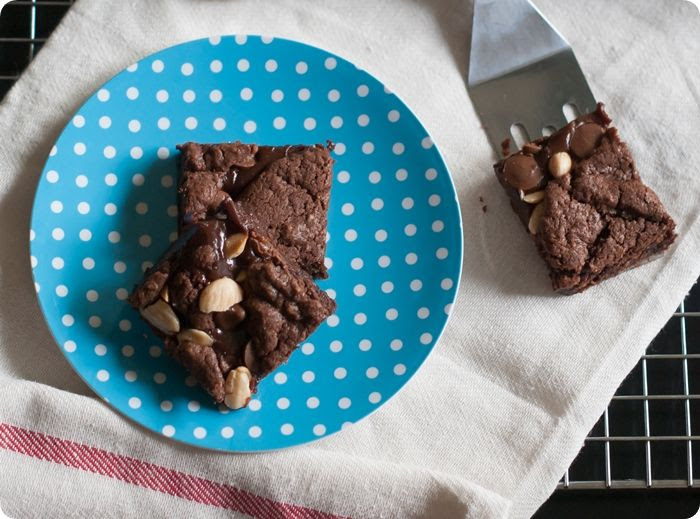 double chocolate caramel brownies with marcona almonds and sea salt from @bakeat350