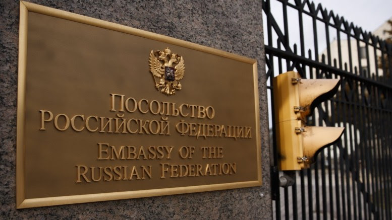 FILE PHOTO: An exterior view of the Russian embassy in Washington, DC, USA, 27 March 2018. US President Donald J. Trump has ordered the expulsion of 60 Russian diplomats and the closure of the Russian consulate in Seattle in response to Russia's alleged use of a nerve agent to poison a former Russian spy in the UK. EPA.SHAWN THEW