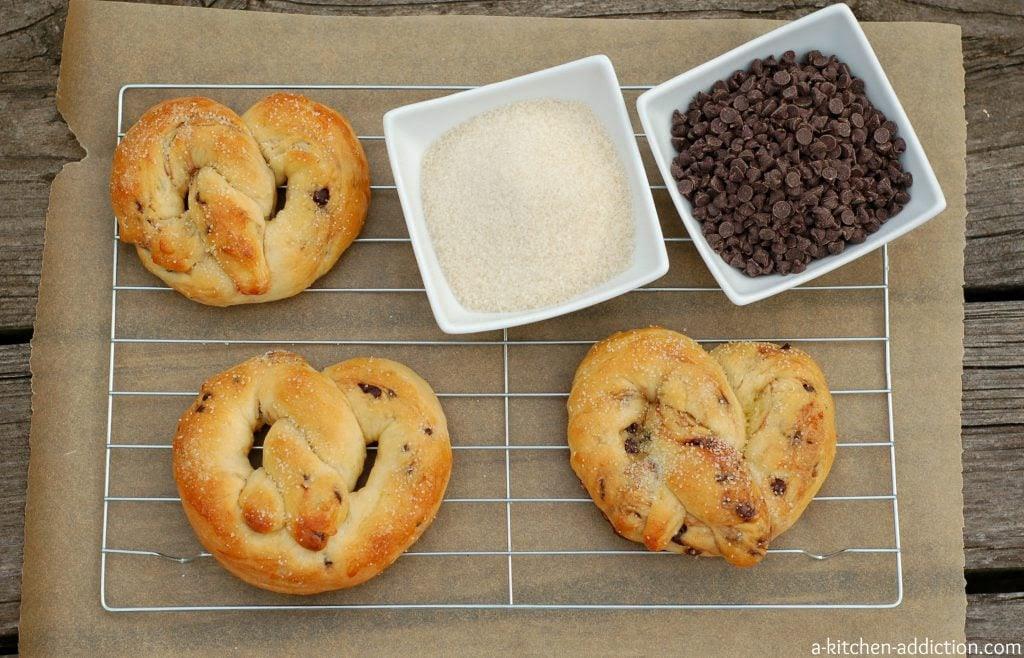 Chocolate Chip Brioche Pretzels Recipe l www.a-kitchen-addiction.com