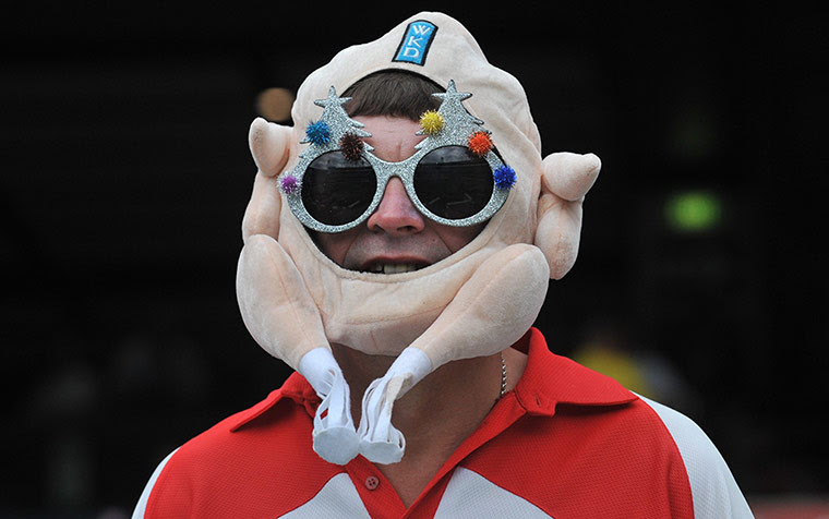 fourth test day 1: Barmy Army fan wearing a turkey hat