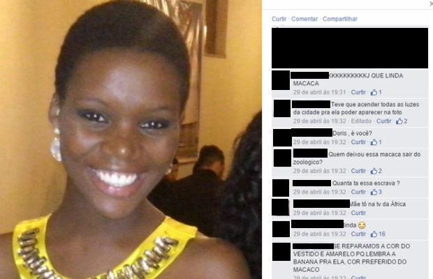 Comentários racistas publicados na foto de jornalista do Distrito Federal em uma rede social (Foto: Facebook/Reprodução)