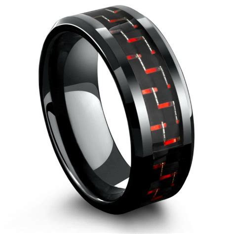 Mens Black and Red Carbon Fiber Ring   Tungsten ? Northern