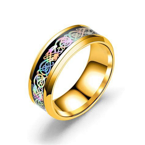 stainless steel dragon pattern ring multicolor couple