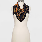 Women's Floral Print Square Scarf - A New Day Black One Size