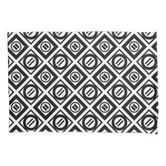 Black Equal Sign Geometric Pattern on White Pillowcase
