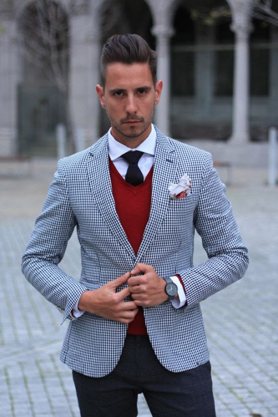 Gingham blazer, red v neck sweater, white shirt, navy tie, floral pocket square