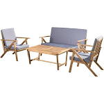 Christopher Knight Home Noble House 4-Pc Acacia Wood Chat Set in Teak