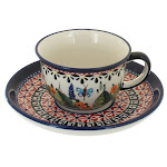 Polish Pottery Floral Butterfly Espresso Cup & Saucer