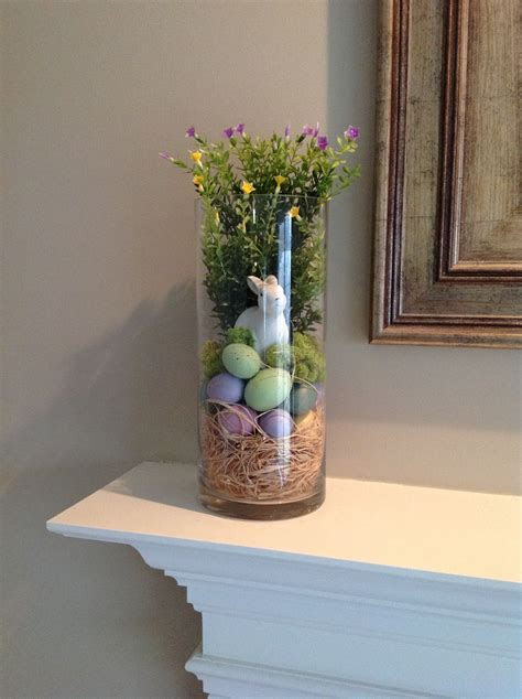 Hurricane glass vase filler for spring and easter on the
