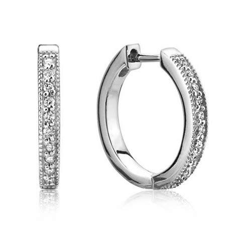 jude frances  karat white gold small diamond hoop