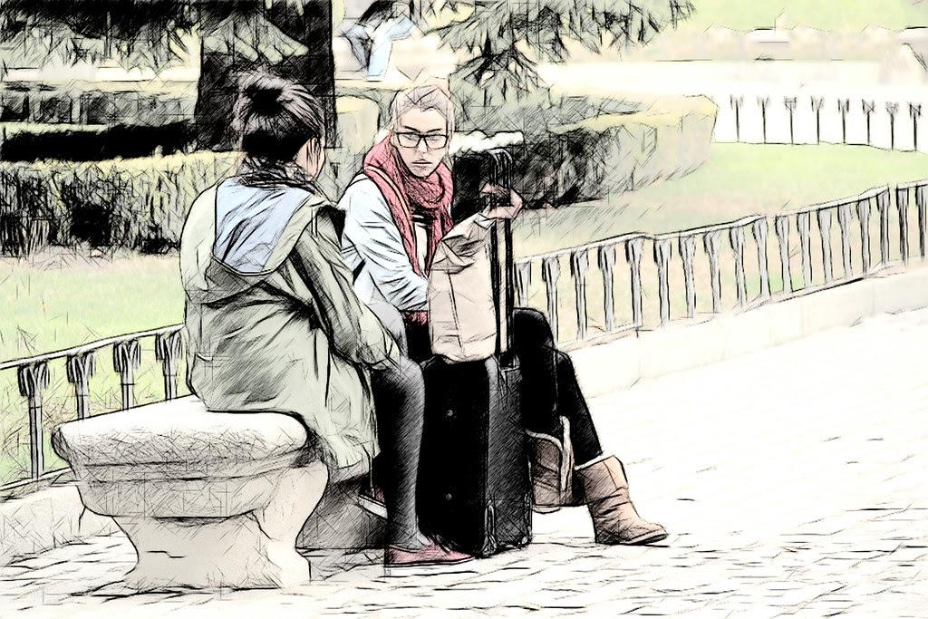 conversaciones sobre un poyo en la plaza de Murillo