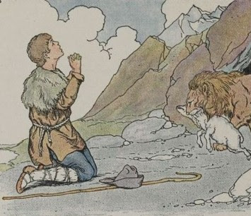 THE SHEPHERD AND THE LION