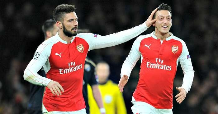 Image result for Olivier Giroud and Mesut Ozil