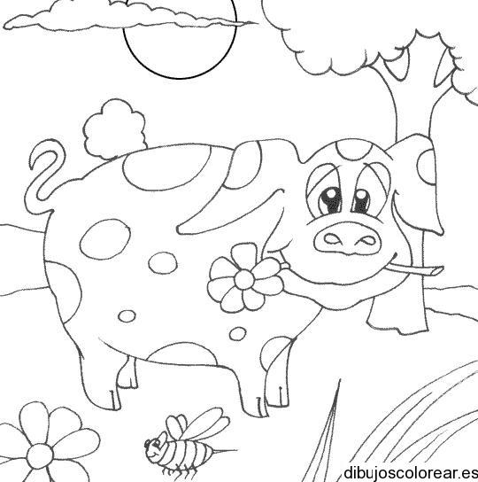 Dibujo De Una Vaquita Y Una Flor