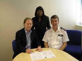 Alan Howe - Chairman RNWA, Lisa Cherry - Borough NHW Manager, and David Grant - Borough Commander