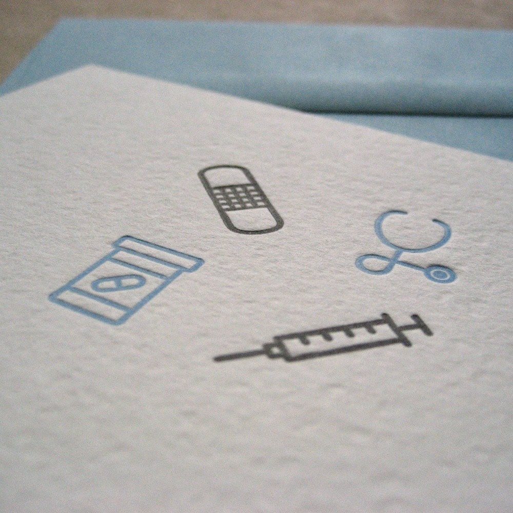 letterpress greeting card - feel better