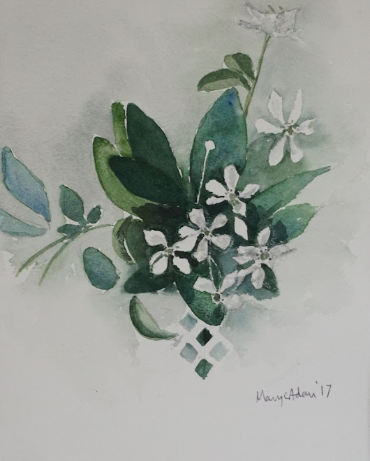 White flowers (2017) Watercolor by Mary Adam