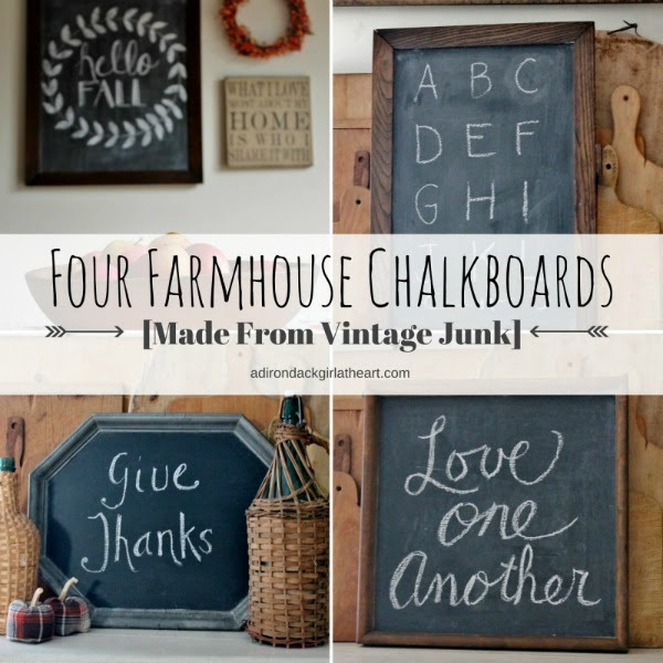 Farmhouse Chalkboards Made From Vintage Junk by Adirondack Girl at Heart