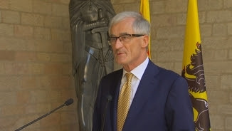 Geert Bourgeois, ministre president flamenc en una visita a la Generalitat
