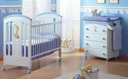 Habitación para bebé en tonos azules