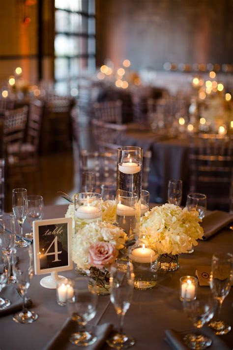 Romantic Floating Candle and Hydrangea Centerpieces   The
