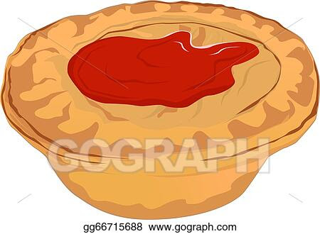 Vector Art - Meat pie with tomato sauce. Clipart Drawing ...
