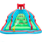 Ivation Deluxe Inflatable Water Slide Park Heavy-Duty Nylon Bouncy Station for Outdoor Fun - Climbing Wall, Two Slides & Splash