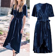 Women Sexy Elegant Vintage Velvet V Neck Wraps Asymmetric Hem Dress With Belt