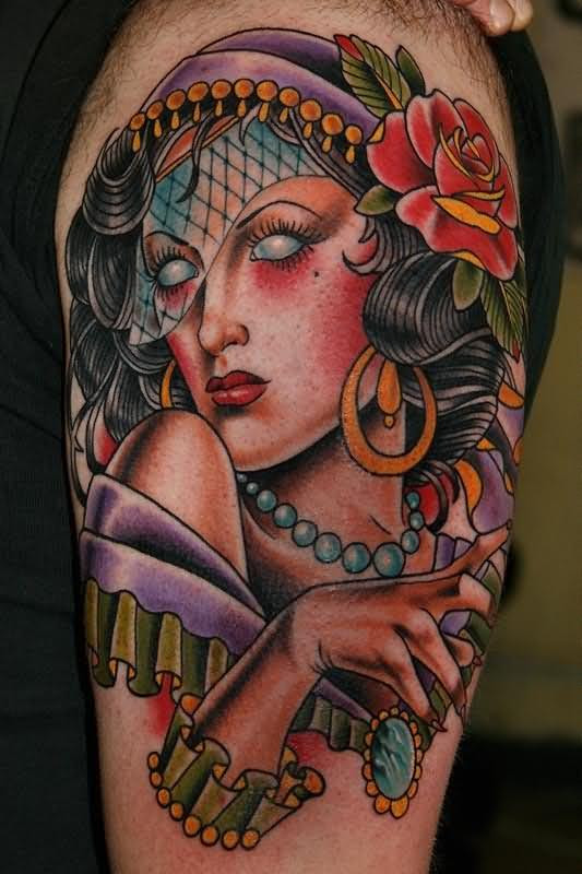 Sexy Gypsy Head Tatto With Gothic Eyes Tattoomagz