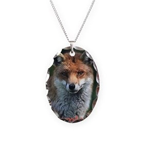Endanger Grey Fox Necklace Oval Charm